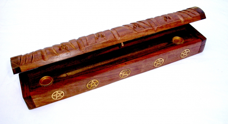 Pentagram Sheesham Incense Smoke Box Holder